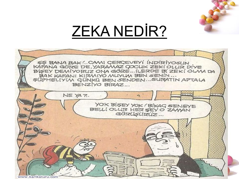 # ZEKA NEDİR? 19. yy'da Hardal tohumu 20. yy'da zeka testi (Fransa Bakanı ile Alfred Binet) Zeka; –tek faktörle açıklanıyor > IQ –Doğuştan gelen, kalı