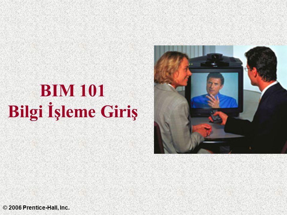 BIM 101 Bilgi İşleme Giriş © 2006 Prentice-Hall, Inc.