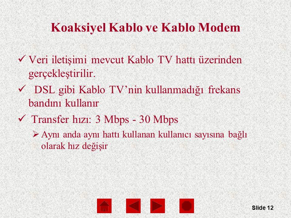 Slide 12 Koaksiyel Kablo ve Kablo Modem Veri iletişimi mevcut Kablo TV hattı üzerinden gerçekleştirilir.