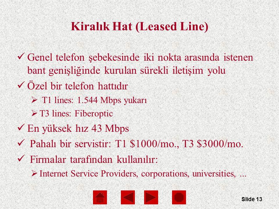 Slide 13 Kiralık Hat (Leased Line) Genel telefon şebekesinde iki nokta arasında istenen bant genişliğinde kurulan sürekli iletişim yolu Özel bir telefon hattıdır  T1 lines: 1.544 Mbps yukarı  T3 lines: Fiberoptic En yüksek hız 43 Mbps Pahalı bir servistir: T1 $1000/mo., T3 $3000/mo.