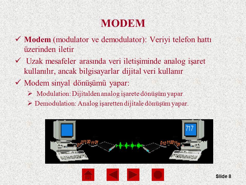 Slide 8 MODEM Modem (modulator ve demodulator): Veriyi telefon hattı üzerinden iletir Uzak mesafeler arasında veri iletişiminde analog işaret kullanılır, ancak bilgisayarlar dijital veri kullanır Modem sinyal dönüşümü yapar:  Modulation: Dijitalden analog işarete dönüşüm yapar  Demodulation: Analog işaretten dijitale dönüşüm yapar.
