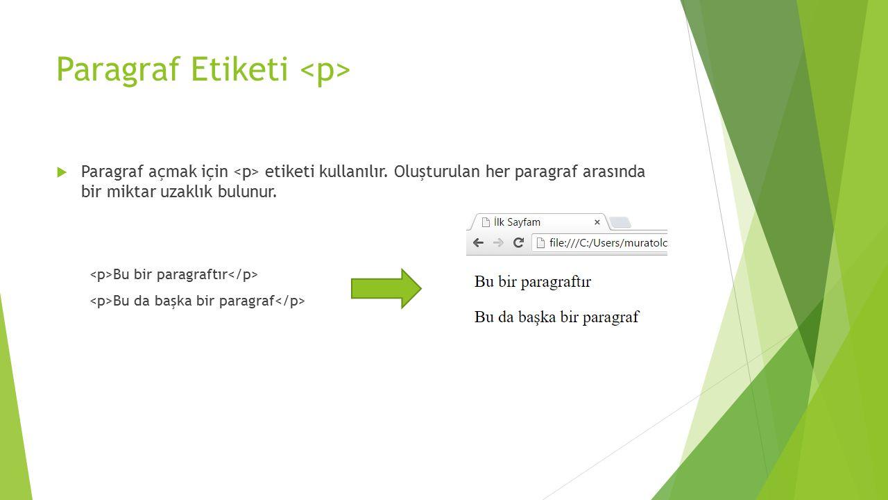 Paragraf Etiketi  Paragraf açmak için etiketi kullanılır. Oluşturulan her paragraf arasında bir miktar uzaklık bulunur. Bu bir paragraftır Bu da başk