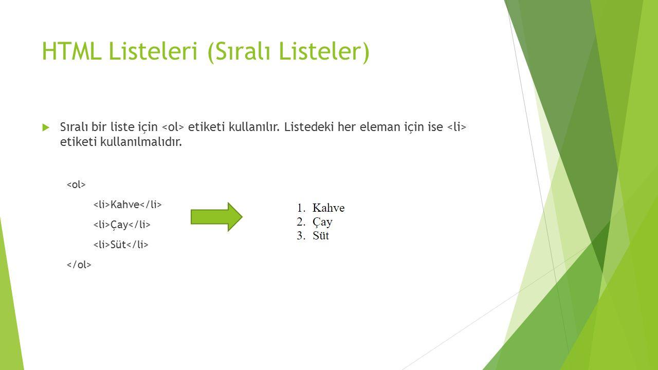 HTML Listeleri (Sıralı Listeler)  Sıralı bir liste için etiketi kullanılır. Listedeki her eleman için ise etiketi kullanılmalıdır. Kahve Çay Süt