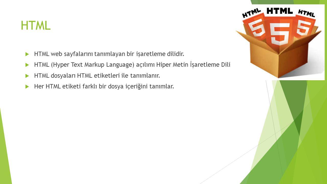 HTML  HTML web sayfalarını tanımlayan bir işaretleme dilidir.  HTML (Hyper Text Markup Language) açılımı Hiper Metin İşaretleme Dili  HTML dosyalar