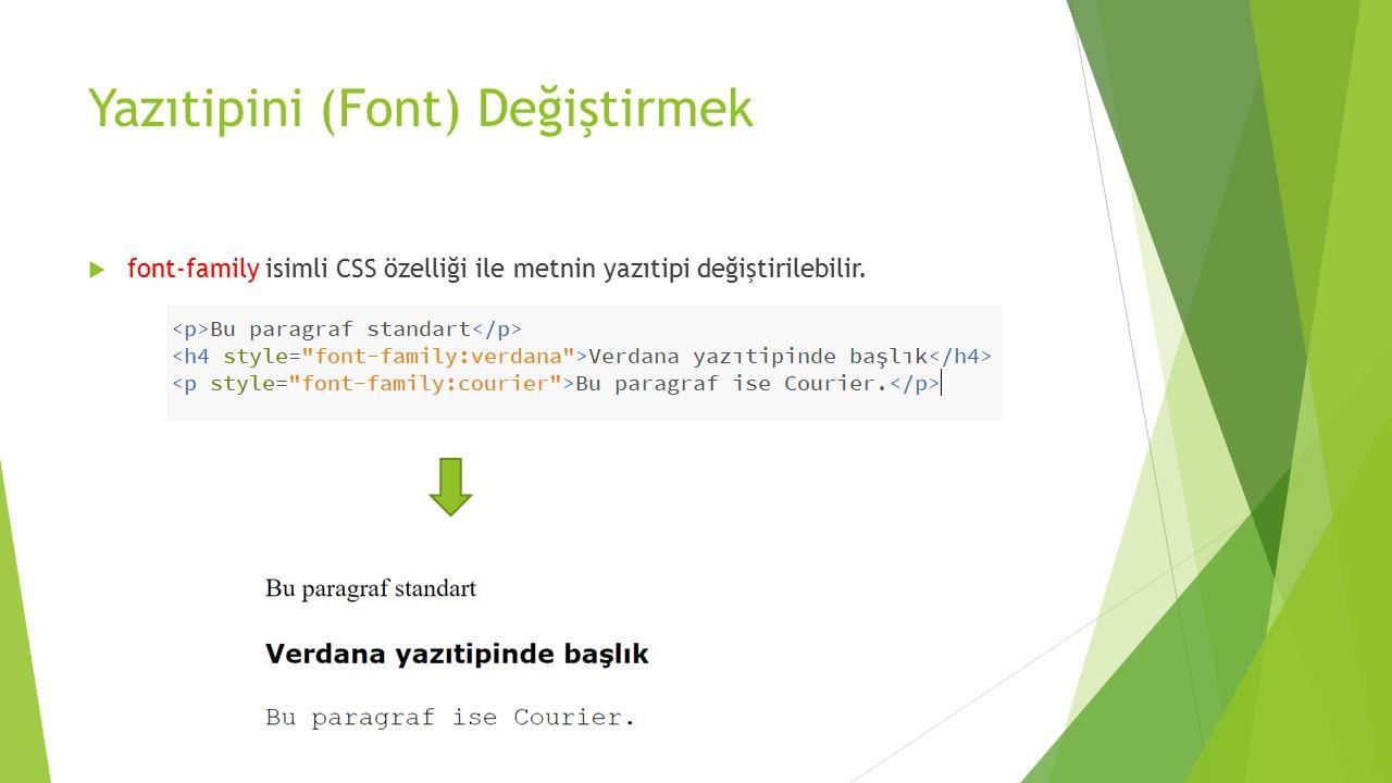 Yazıtipini (Font) Değiştirmek  font-family isimli CSS özelliği ile metnin yazıtipi değiştirilebilir.