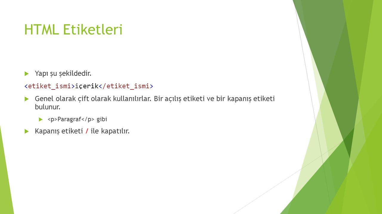 HTML'de Tablolar  Tablolar etiketi ile tanımlanır.