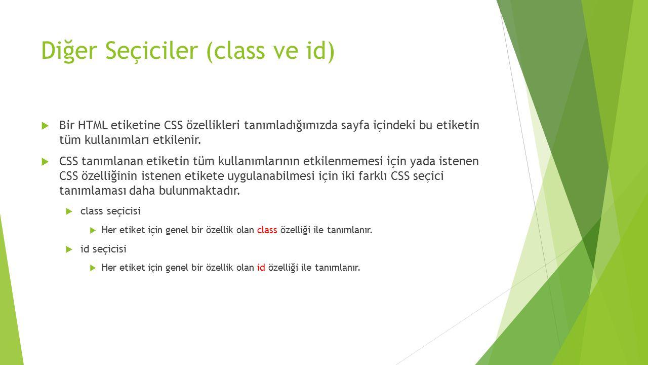 Diğer Seçiciler (class ve id)  Bir HTML etiketine CSS özellikleri tanımladığımızda sayfa içindeki bu etiketin tüm kullanımları etkilenir.  CSS tanım