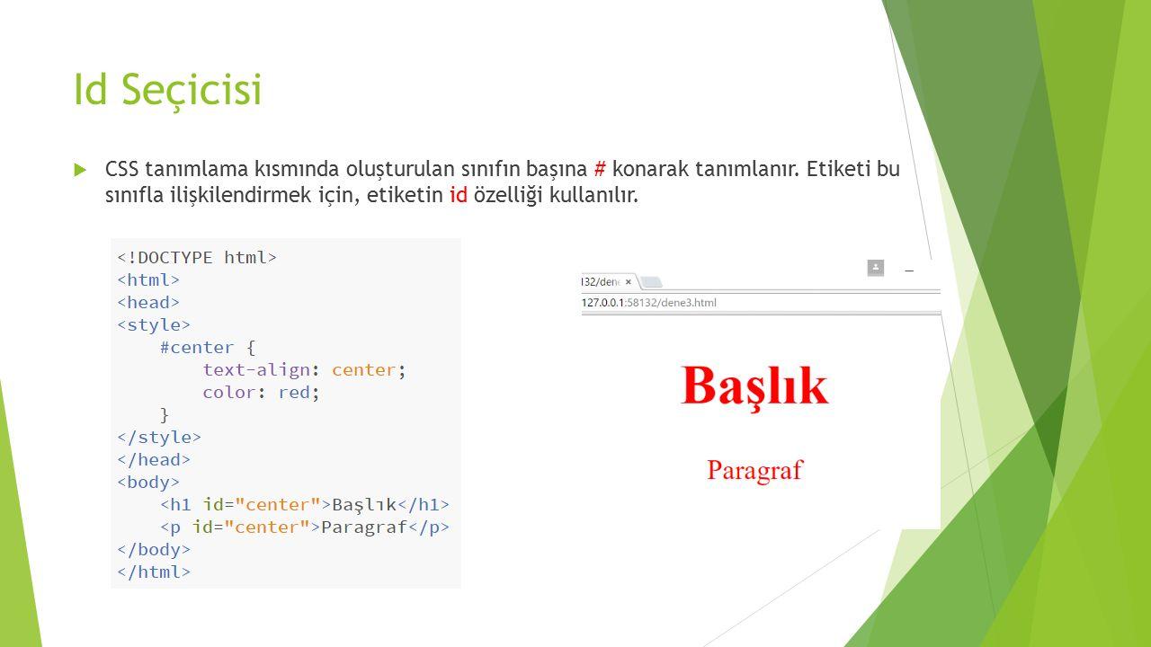 Id Seçicisi  CSS tanımlama kısmında oluşturulan sınıfın başına # konarak tanımlanır. Etiketi bu sınıfla ilişkilendirmek için, etiketin id özelliği ku