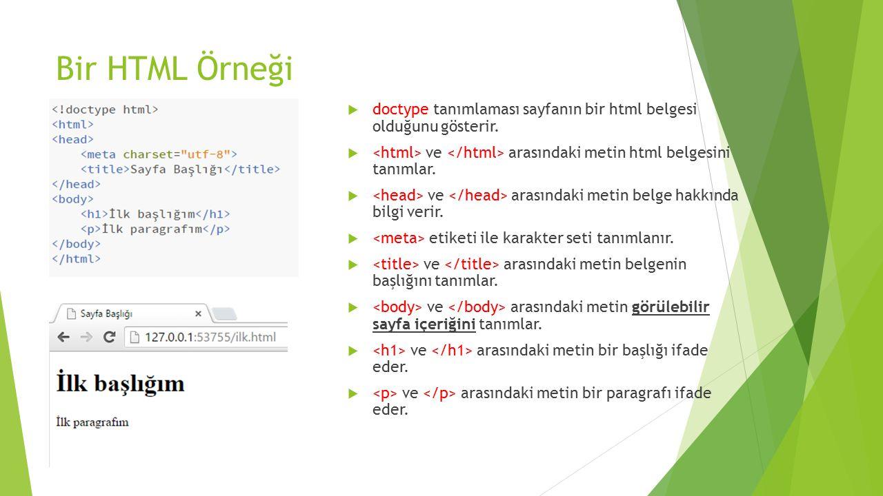 Bir HTML Örneği  doctype tanımlaması sayfanın bir html belgesi olduğunu gösterir.  ve arasındaki metin html belgesini tanımlar.  ve arasındaki meti
