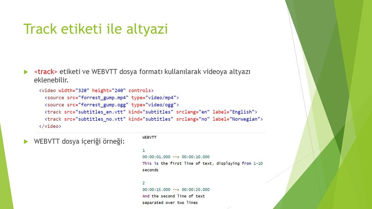 Track etiketi ile altyazi  etiketi ve WEBVTT dosya formatı kullanılarak videoya altyazı eklenebilir.  WEBVTT dosya içeriği örneği: