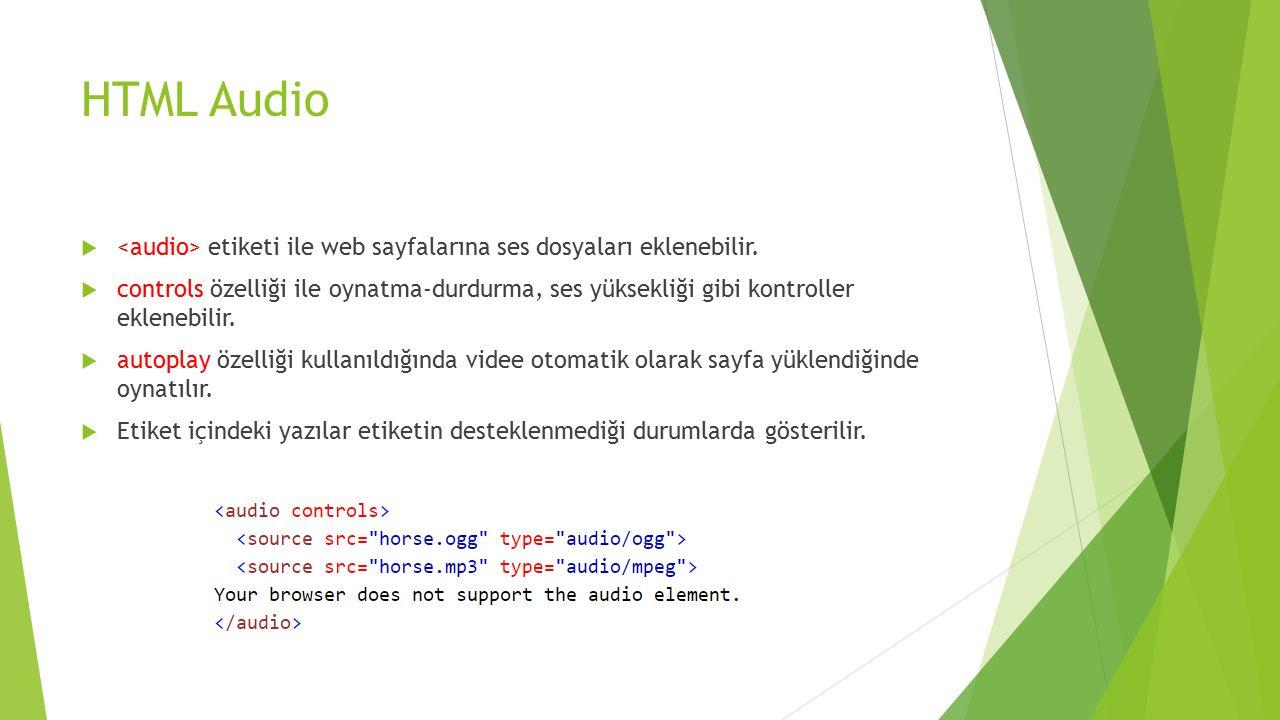 HTML Audio  etiketi ile web sayfalarına ses dosyaları eklenebilir.  controls özelliği ile oynatma-durdurma, ses yüksekliği gibi kontroller eklenebil