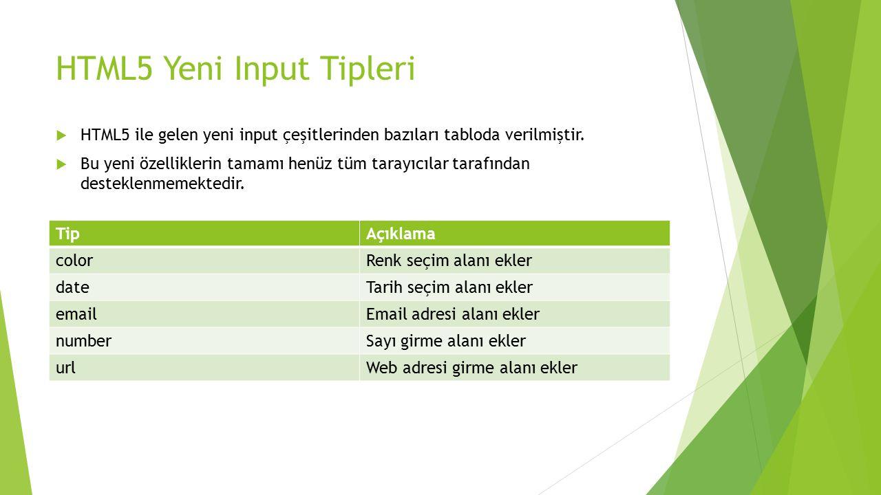 HTML5 Yeni Input Tipleri TipAçıklama colorRenk seçim alanı ekler dateTarih seçim alanı ekler emailEmail adresi alanı ekler numberSayı girme alanı ekle