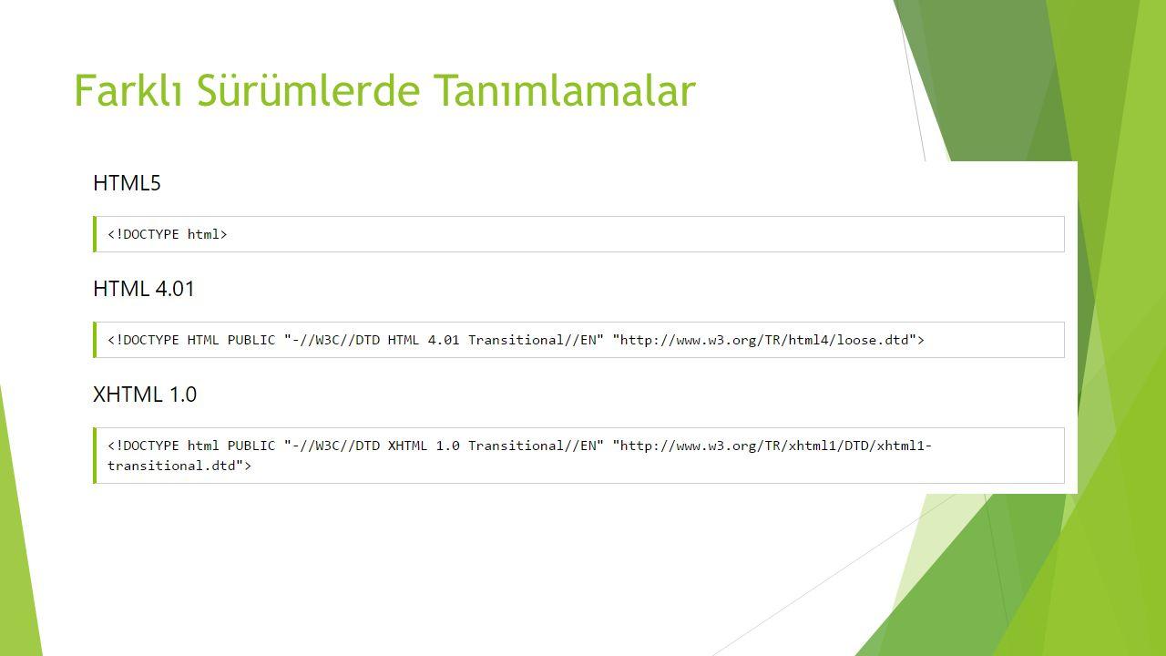 HTML Versiyonları