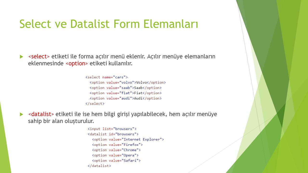 Select ve Datalist Form Elemanları  etiketi ile forma açılır menü eklenir. Açılır menüye elemanların eklenmesinde etiketi kullanılır.  etiketi ile i