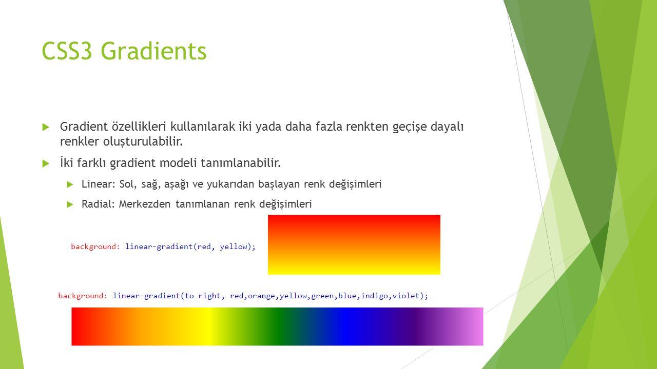 CSS3 Gradients  Gradient özellikleri kullanılarak iki yada daha fazla renkten geçişe dayalı renkler oluşturulabilir.  İki farklı gradient modeli tan
