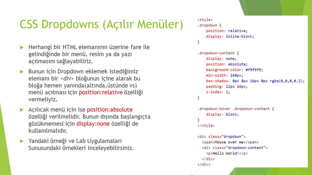 CSS Dropdowns (Açılır Menüler)  Herhangi bir HTML elemanının üzerine fare ile gelindiğinde bir menü, resim ya da yazı açılmasını sağlayabiliriz.  Bu