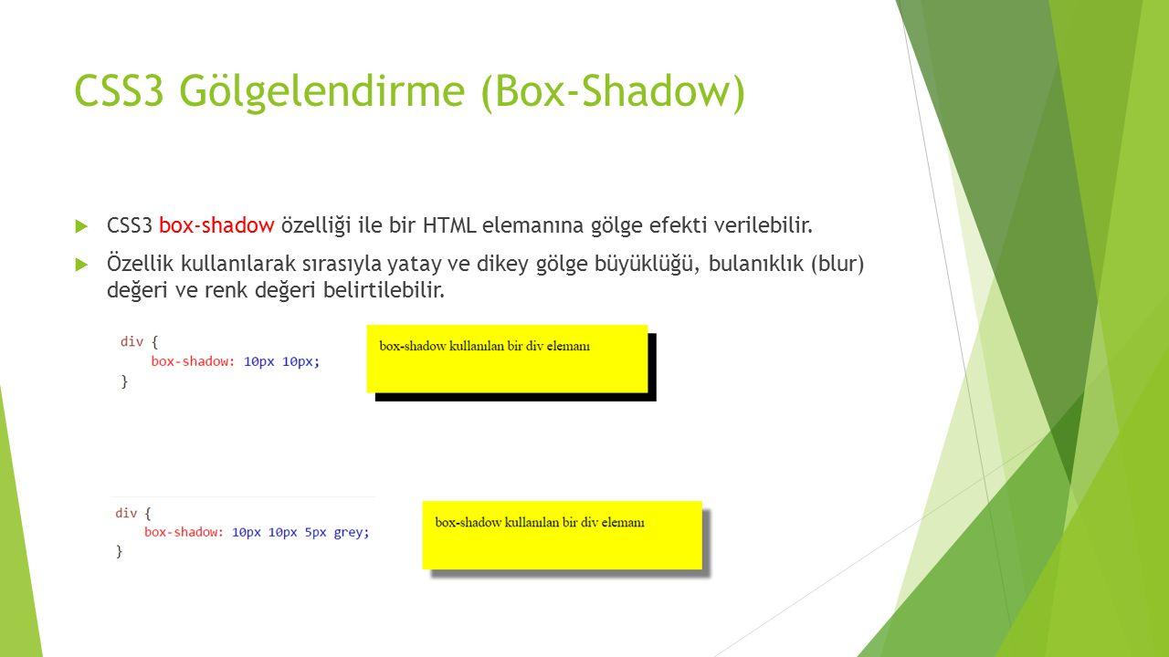 CSS3 Gölgelendirme (Box-Shadow)  CSS3 box-shadow özelliği ile bir HTML elemanına gölge efekti verilebilir.  Özellik kullanılarak sırasıyla yatay ve