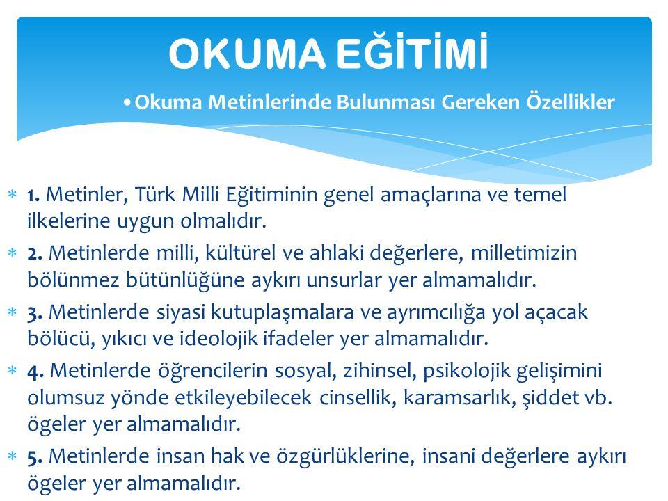  1. Metinler, Türk Milli Eğitiminin genel amaçlarına ve temel ilkelerine uygun olmalıdır.  2. Metinlerde milli, kültürel ve ahlaki değerlere, millet