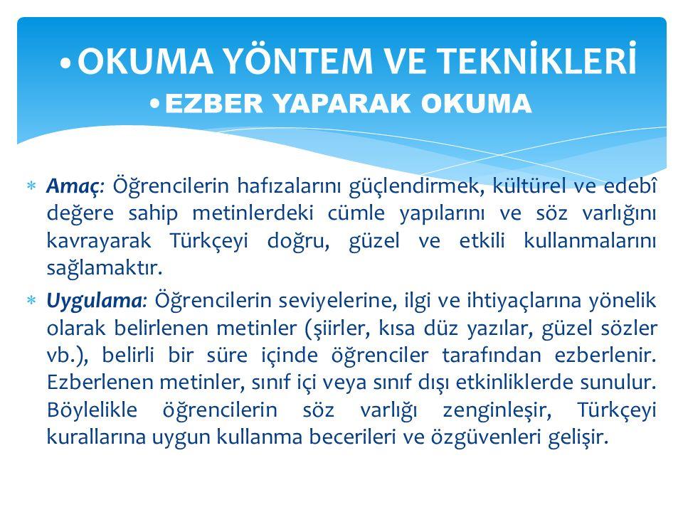  Amaç: Öğrencilerin hafızalarını güçlendirmek, kültürel ve edebî değere sahip metinlerdeki cümle yapılarını ve söz varlığını kavrayarak Türkçeyi doğr