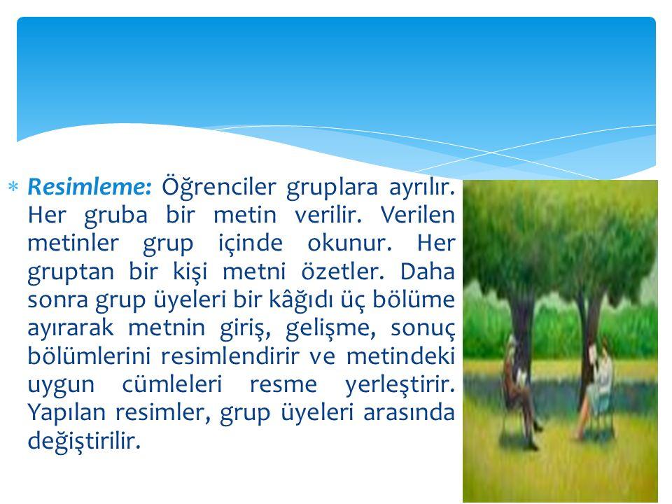  Resimleme: Öğrenciler gruplara ayrılır. Her gruba bir metin verilir. Verilen metinler grup içinde okunur. Her gruptan bir kişi metni özetler. Daha s