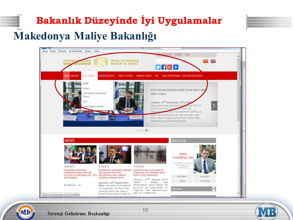 Strateji Geliştirme Başkanlığı 10 Makedonya Maliye Bakanlığı Bakanlık Düzeyinde İyi Uygulamalar