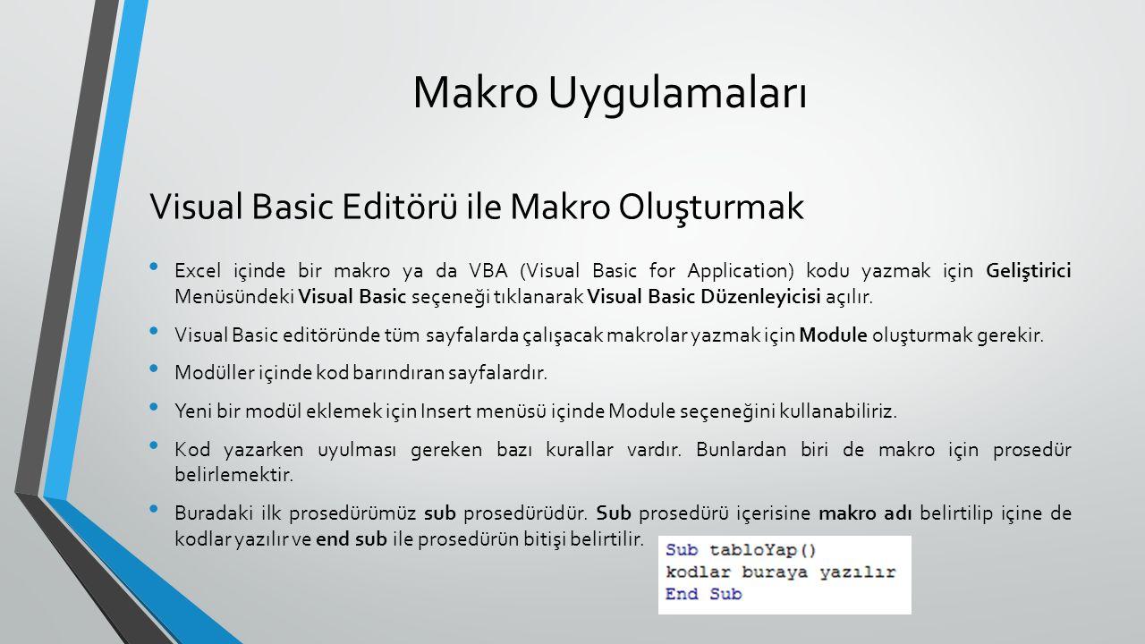Makro Uygulamaları Excel içinde bir makro ya da VBA (Visual Basic for Application) kodu yazmak için Geliştirici Menüsündeki Visual Basic seçeneği tıkl