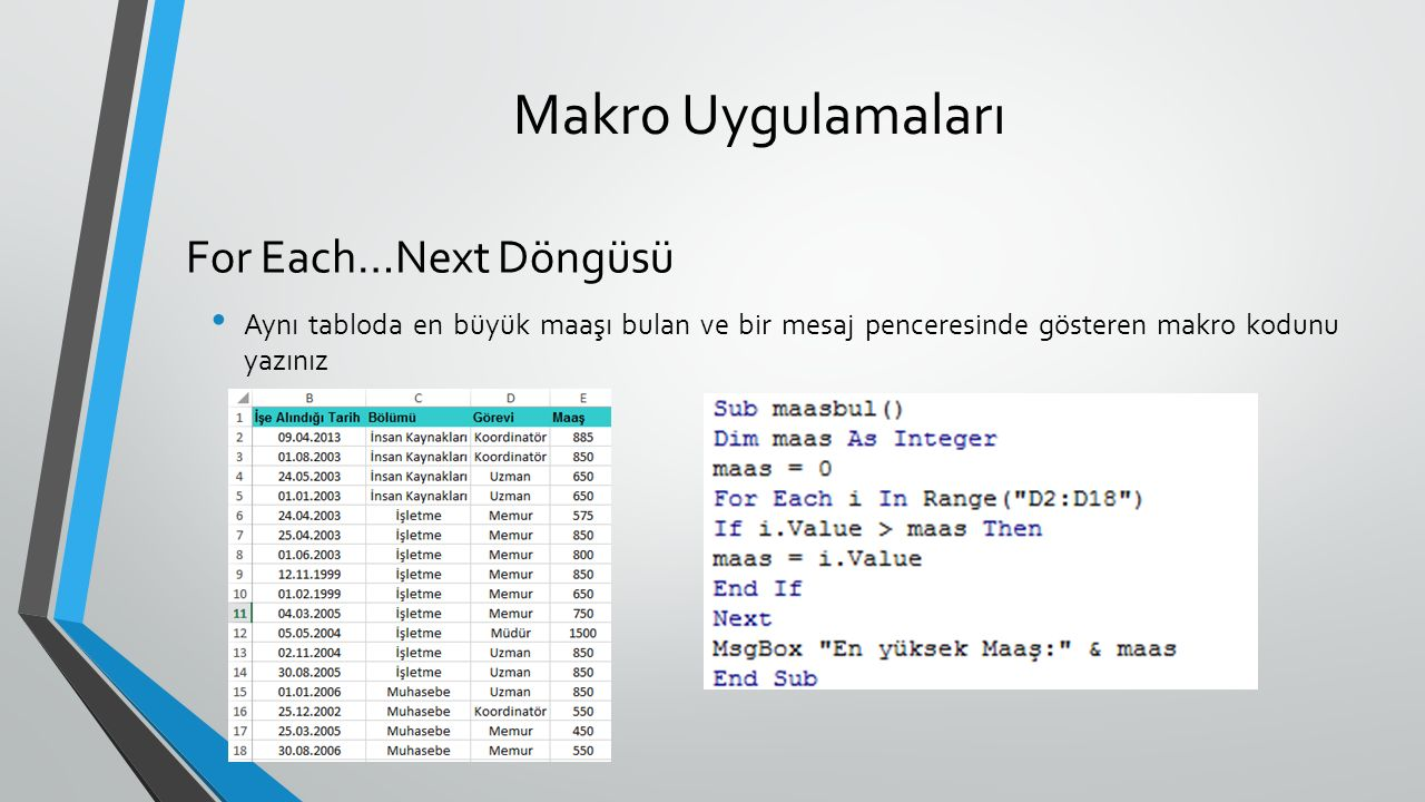 Makro Uygulamaları Aynı tabloda en büyük maaşı bulan ve bir mesaj penceresinde gösteren makro kodunu yazınız For Each…Next Döngüsü