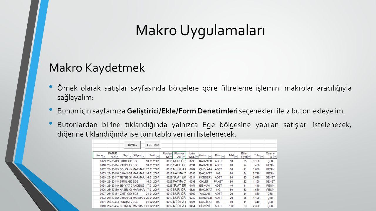 Makro Uygulamaları Örnek olarak satışlar sayfasında bölgelere göre filtreleme işlemini makrolar aracılığıyla sağlayalım: Bunun için sayfamıza Geliştir