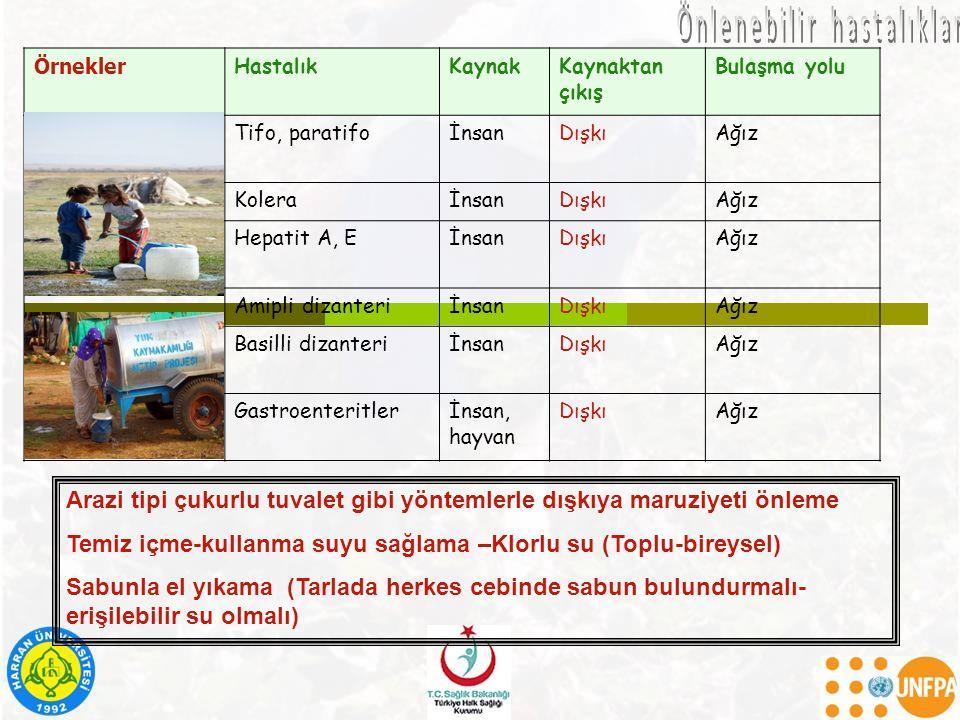 Örnekler HastalıkKaynakKaynaktan çıkış Bulaşma yolu Sudan kaynaklananlar Tifo, paratifoİnsanDışkıAğız KoleraİnsanDışkıAğız Hepatit A, EİnsanDışkıAğız