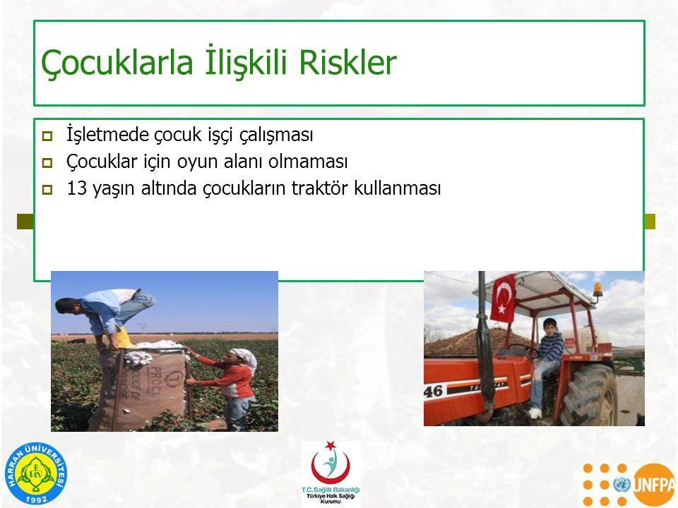 Çocuklarla İlişkili Riskler  İşletmede çocuk işçi çalışması  Çocuklar için oyun alanı olmaması  13 yaşın altında çocukların traktör kullanması