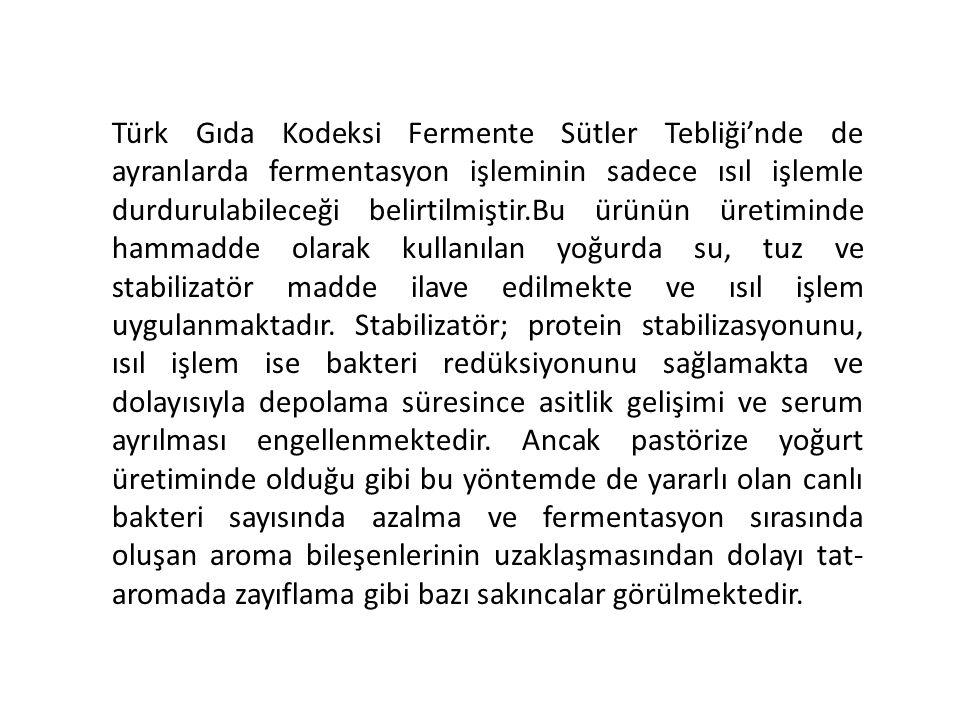 Türk Gıda Kodeksi Fermente Sütler Tebliği'nde de ayranlarda fermentasyon işleminin sadece ısıl işlemle durdurulabileceği belirtilmiştir.Bu ürünün üret