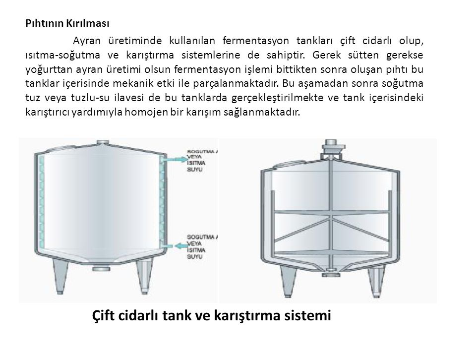 Pıhtının Kırılması Ayran üretiminde kullanılan fermentasyon tankları çift cidarlı olup, ısıtma-soğutma ve karıştırma sistemlerine de sahiptir. Gerek s