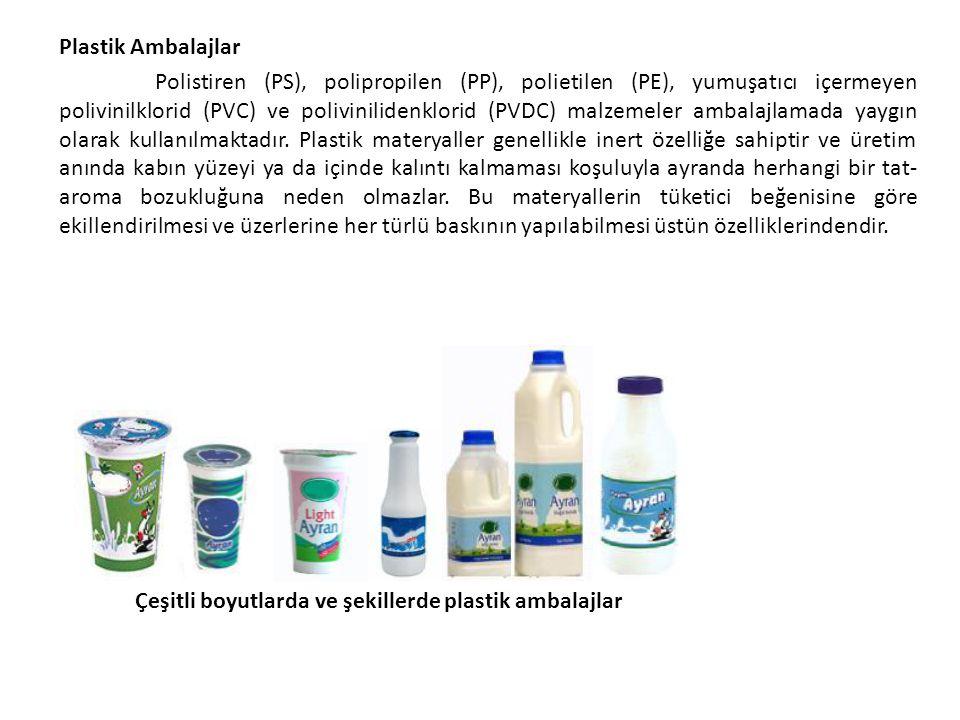 Plastik Ambalajlar Polistiren (PS), polipropilen (PP), polietilen (PE), yumuşatıcı içermeyen polivinilklorid (PVC) ve polivinilidenklorid (PVDC) malze