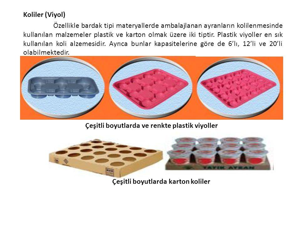Koliler (Viyol) Özellikle bardak tipi materyallerde ambalajlanan ayranların kolilenmesinde kullanılan malzemeler plastik ve karton olmak üzere iki tip