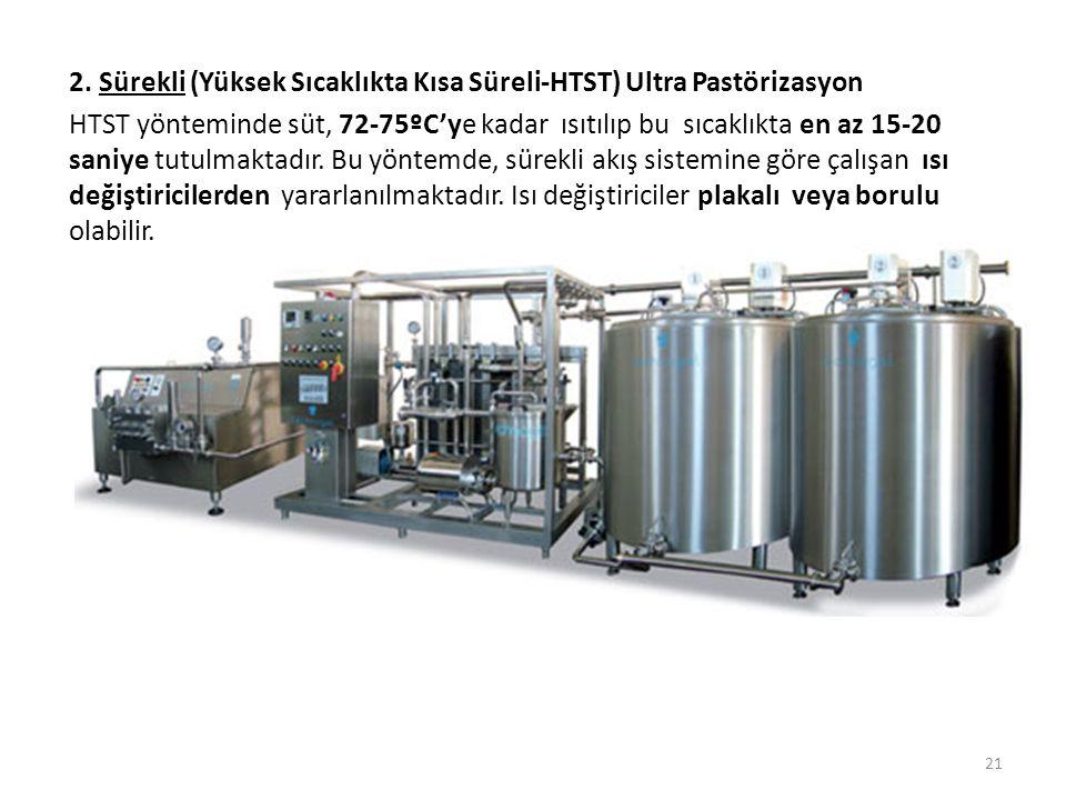 2. Sürekli (Yüksek Sıcaklıkta Kısa Süreli-HTST) Ultra Pastörizasyon HTST yönteminde süt, 72-75ºC'ye kadar ısıtılıp bu sıcaklıkta en az 15-20 saniye tu