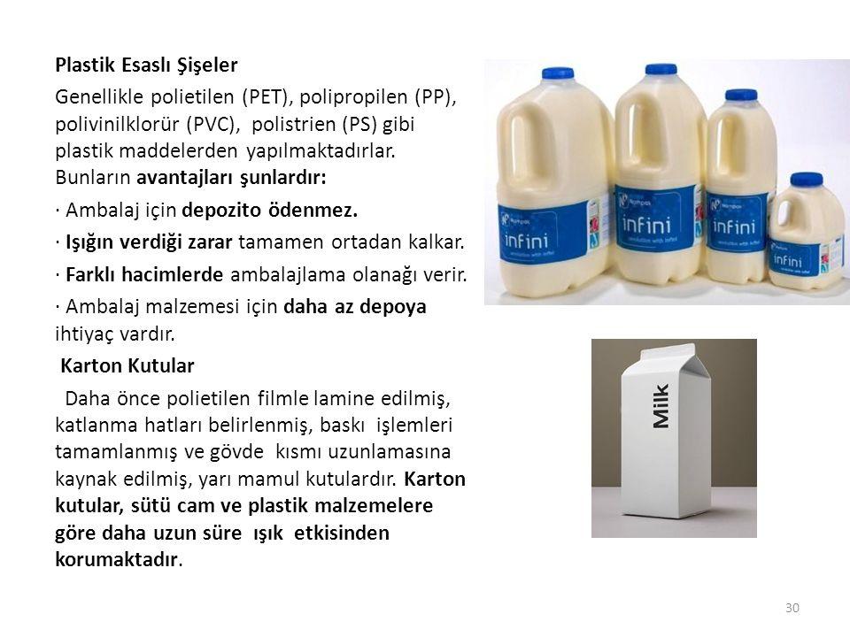 Plastik Esaslı Şişeler Genellikle polietilen (PET), polipropilen (PP), polivinilklorür (PVC), polistrien (PS) gibi plastik maddelerden yapılmaktadırlar.