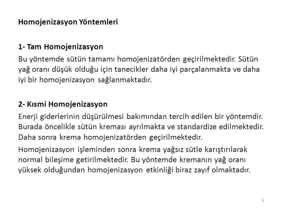 Homojenizasyon Yöntemleri 1- Tam Homojenizasyon Bu yöntemde sütün tamamı homojenizatörden geçirilmektedir.