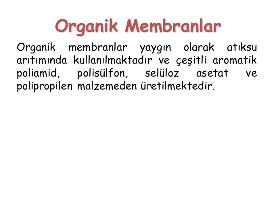 Organik Membranlar Organik membranlar yaygın olarak atıksu arıtımında kullanılmaktadır ve çeşitli aromatik poliamid, polisülfon, selüloz asetat ve pol