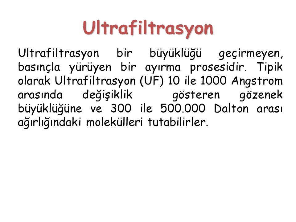 Ultrafiltrasyon Ultrafiltrasyon bir büyüklüğü geçirmeyen, basınçla yürüyen bir ayırma prosesidir. Tipik olarak Ultrafiltrasyon (UF) 10 ile 1000 Angstr