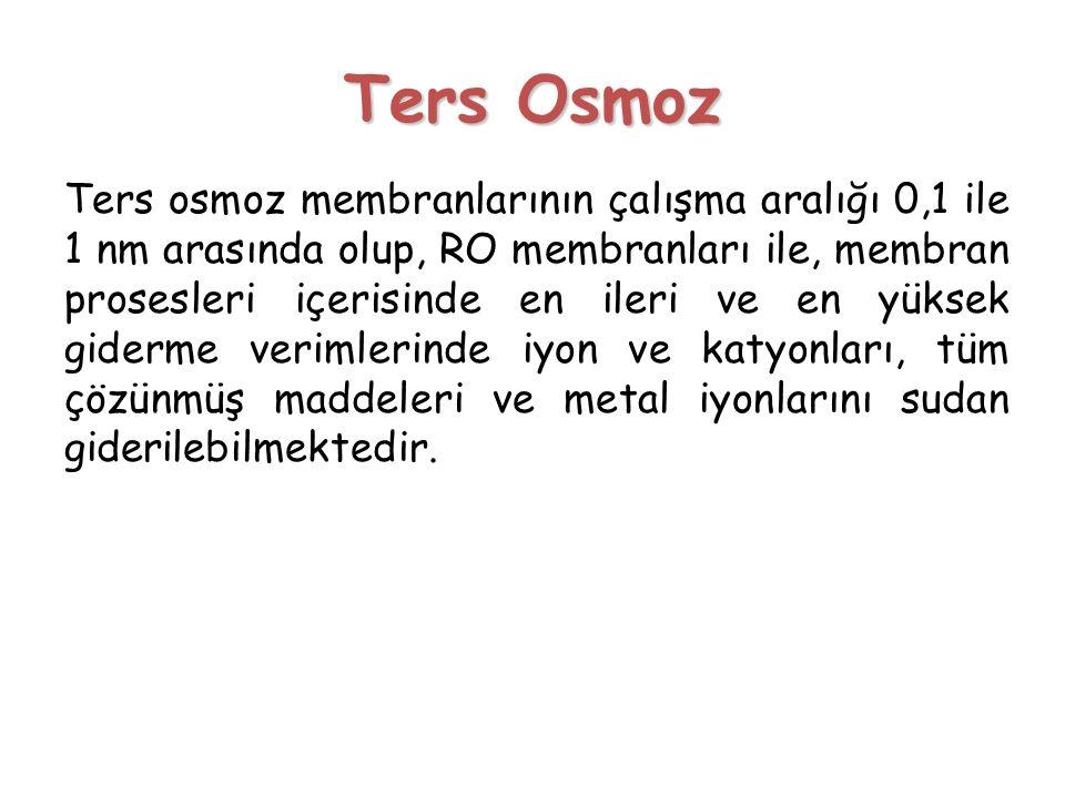 Ters Osmoz Ters osmoz membranlarının çalışma aralığı 0,1 ile 1 nm arasında olup, RO membranları ile, membran prosesleri içerisinde en ileri ve en yüks