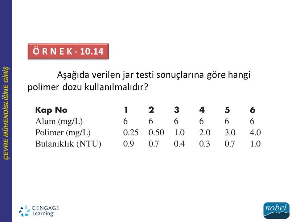Aşağıda verilen jar testi sonuçlarına göre hangi polimer dozu kullanılmalıdır? Ö R N E K - 10.14