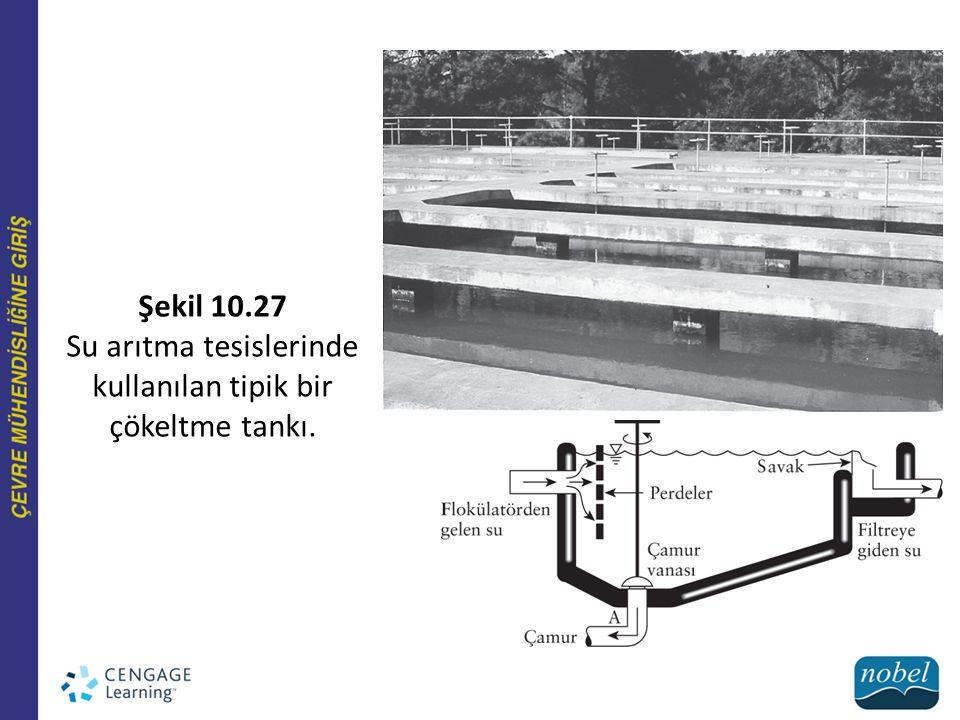 Şekil 10.27 Su arıtma tesislerinde kullanılan tipik bir çökeltme tankı.