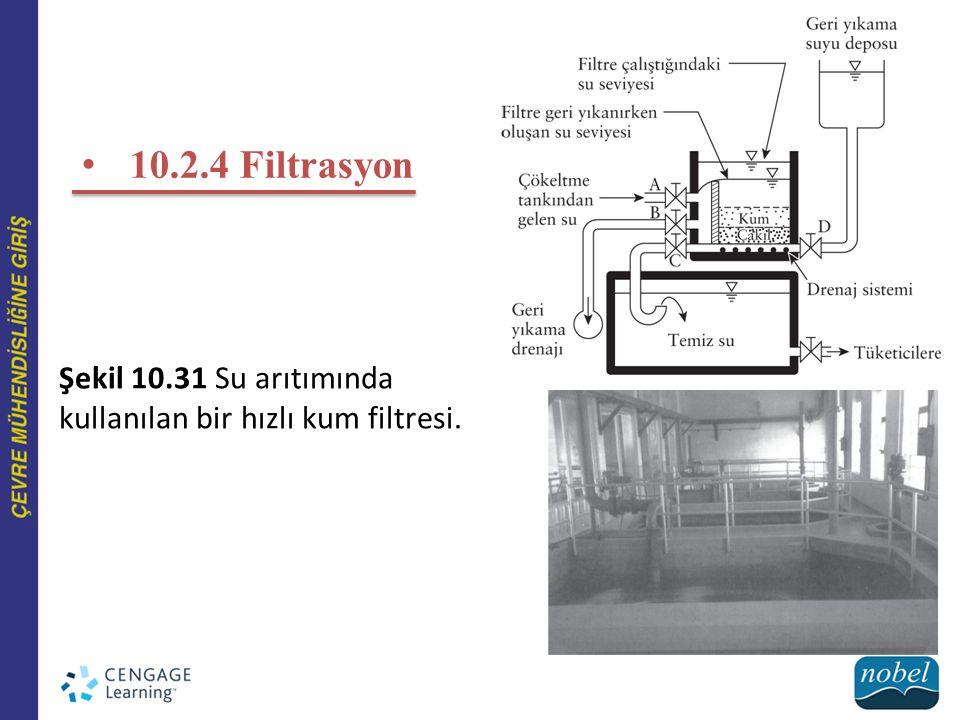 10.2.4 Filtrasyon Şekil 10.31 Su arıtımında kullanılan bir hızlı kum filtresi.