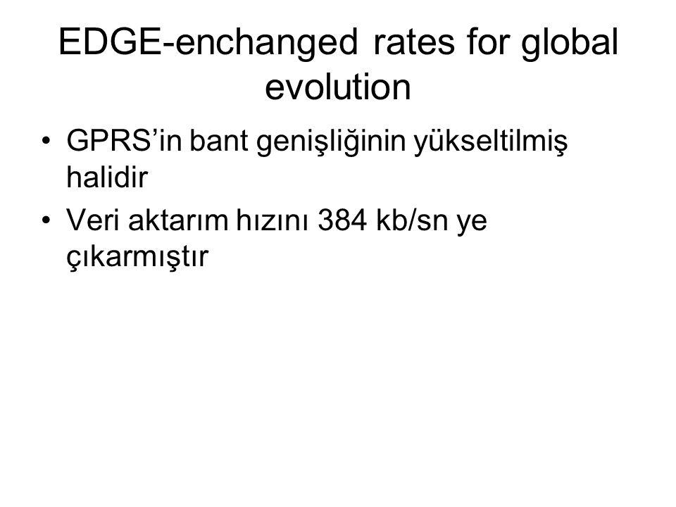 EDGE-enchanged rates for global evolution GPRS'in bant genişliğinin yükseltilmiş halidir Veri aktarım hızını 384 kb/sn ye çıkarmıştır