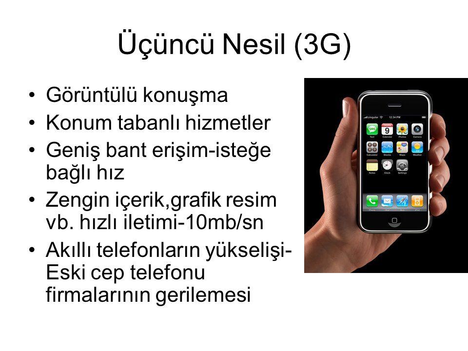 Üçüncü Nesil (3G) Görüntülü konuşma Konum tabanlı hizmetler Geniş bant erişim-isteğe bağlı hız Zengin içerik,grafik resim vb.