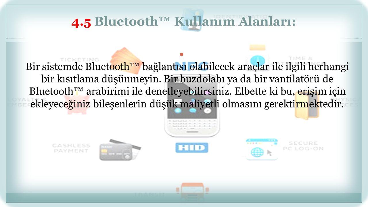 4.3 Bluetooth™ Teknik Yapısı: Bluetooth™ sistemi 2.4 Ghz frekans bandında çalışan evrensel bir radyo arabirimine dayanan bir sistemdir.