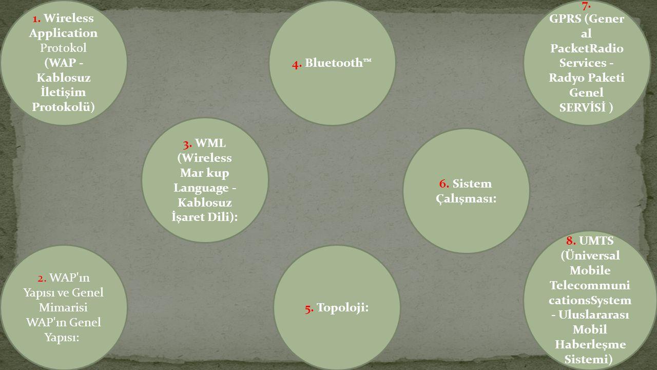 1.Wireless Application Protokol (WAP - Kablosuz İletişim Protokolü) 2.