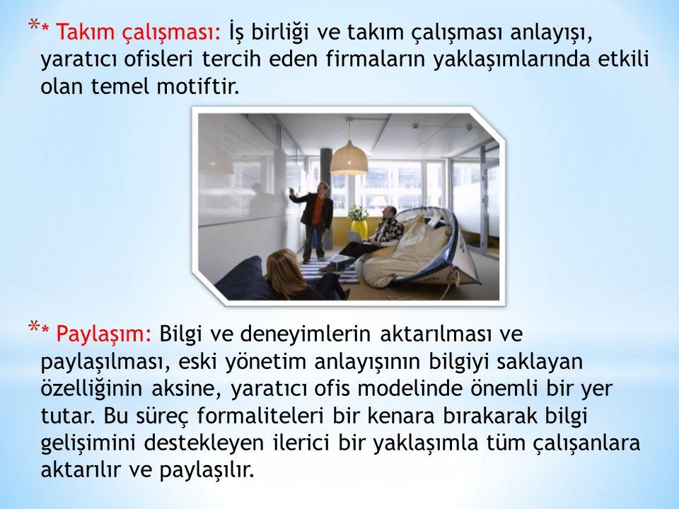 * * Takım çalışması: İş birliği ve takım çalışması anlayışı, yaratıcı ofisleri tercih eden firmaların yaklaşımlarında etkili olan temel motiftir. * *