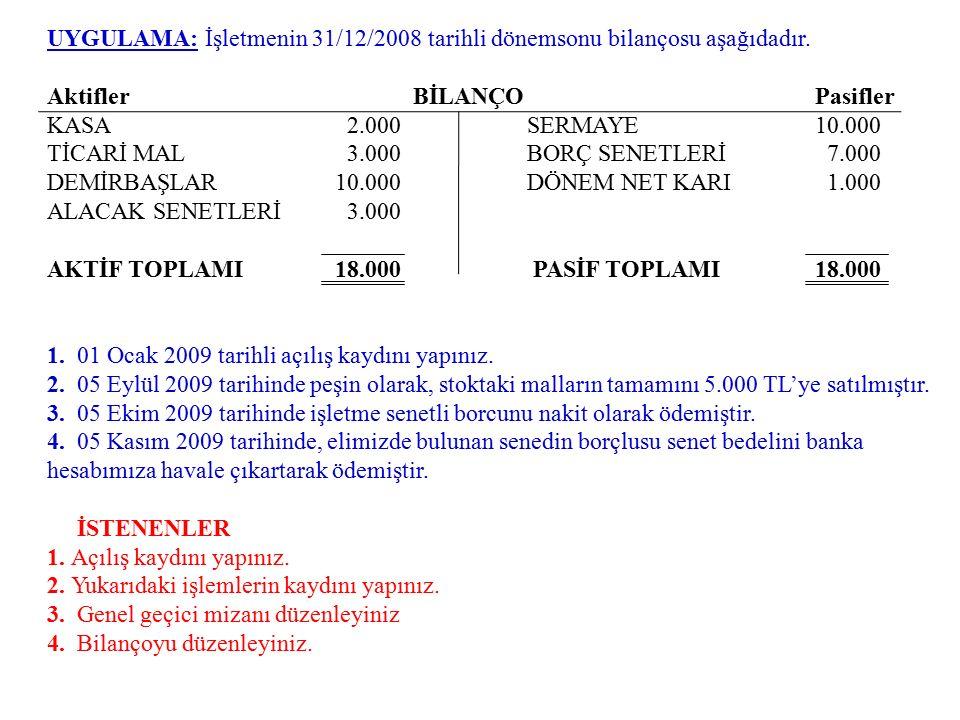 UYGULAMA: İşletmenin 31/12/2008 tarihli dönemsonu bilançosu aşağıdadır. Aktifler BİLANÇO Pasifler KASA 2.000SERMAYE10.000 TİCARİ MAL 3.000BORÇ SENETLE