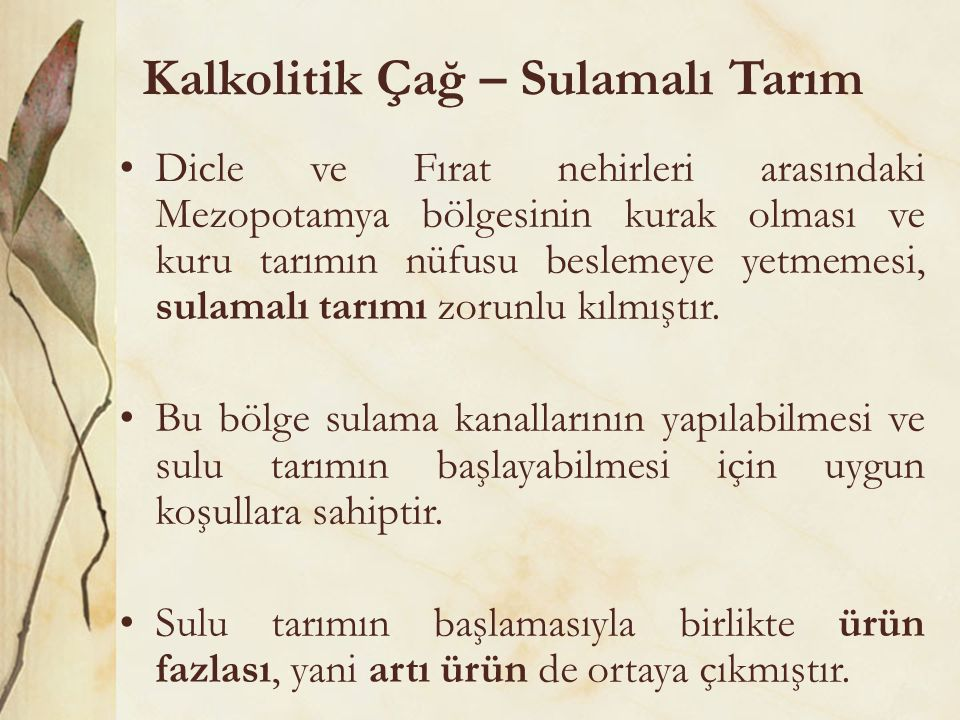 Kalkolitik Çağ – Sulamalı Tarım Dicle ve Fırat nehirleri arasındaki Mezopotamya bölgesinin kurak olması ve kuru tarımın nüfusu beslemeye yetmemesi, sulamalı tarımı zorunlu kılmıştır.